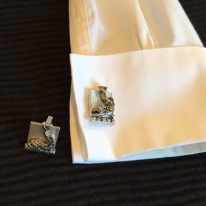 Sterling Silver Swank Pisces Cuff Links